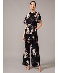 Phase Eight Ashai Floral Jumpsuit - Black