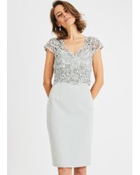 Phase Eight Ellise Lace Bodice Dress - White