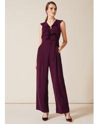Phase Eight Linda Frill Jumpsuit - Purple