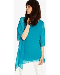 Phase Eight - Turquoise Maggie Asymmetric Silk Blouse - Lyst