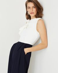 Phase Eight - Cream And Navy Maeve Frill Detail Jumpsuit - Lyst