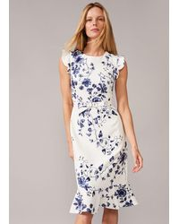 Phase Eight Tori Floral Fitted Dress - Blue