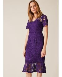 Phase Eight Daria Guipure Dress - Purple