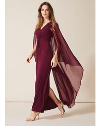 Phase Eight Edna Cape Maxi Dress - Red