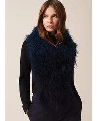 Phase Eight Maggie Mongolian Fur Scarf - Blue