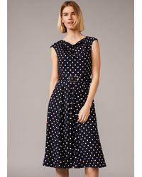 Phase Eight Zalika Polka Dot Belted Dress - Blue