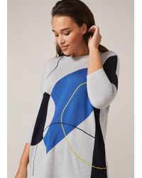 Studio 8 Francis Intarsia Knit Top - Blue