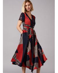 Phase Eight Clarice Graphic Print Dress - Red