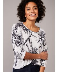 Phase Eight Catrina Floral Linen Top - White