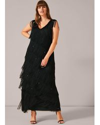 Studio 8 Sizes 16-26 Pine Siena Fringe Maxi Dress - Black