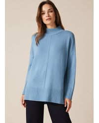 Phase Eight Sienna Lambswool Blend Turtle Neck Jumper - Blue