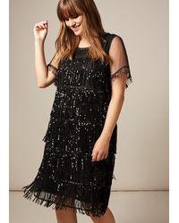 Studio 8 Matilda Sequin Fringe Dress - Black