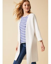Phase Eight Cara Knitted Coatigan - White