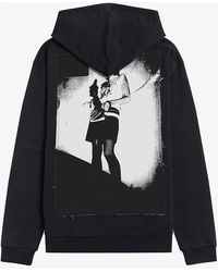 Fred Perry Printed Patch Hooded Sweat - Black
