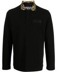 Versace Jeans Couture - Baroque Collar Long Sleeve Polo Shirt - Lyst