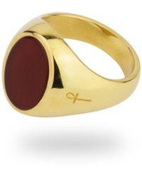 Phira London Gold Jamestown Carnelian Oval Stone Ring - Metallic