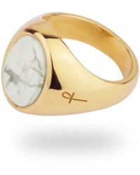 Phira London 9k Gold Jamestown Howlite Oval Stone Ring - Metallic
