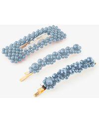 Pieces 3-pack Kralen Haarspelden Blauw