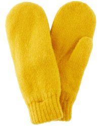 Pieces Wolmix Handschoenen Brown; Yellow - Geel