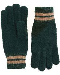 Pieces Lurex Gestreepte Handschoenen Green - Groen