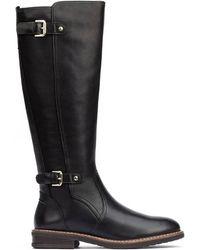 Pikolinos Leather Knee High Boots Aldaya W8j - Black