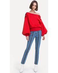 Pixie Market - Jess Red Button Sweatshirt - Lyst