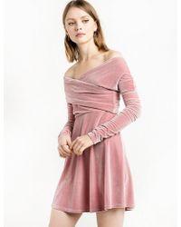 247d6fde57 Pixie Market - Valerie Dusty Pink Velvet Off The Shoulder Dress - Lyst