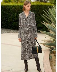 Pixie Market - Rene Leopard Silky Midi Skirt - Lyst