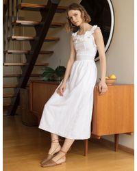 Pixie Market - White Ruffle Trim Midi Dress - Lyst a7971c204