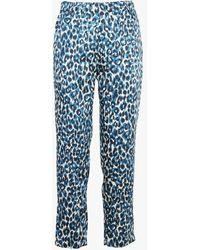 Gerard Darel Pantalon droit imprimé léopard - Bleu