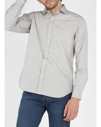 Hartford Slim-fit Micro-patterned Cotton Shirt With Classic - Blue