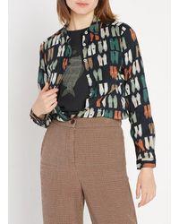 Nice Things Camisa estampada de algodón con cuello clásico - Negro