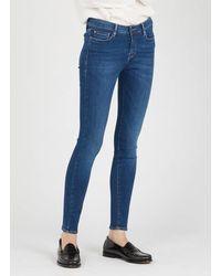 Acquaverde Jean skinny en coton stretch dark wash - Bleu