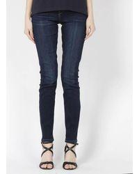 Esprit Raw denim slimfit-jeans mit niedrigem bund - Blau
