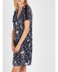 IKKS Straight Peony-printed V-neck Dress Marine - Blue