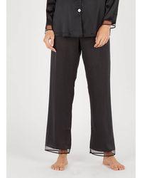 Lou Silk Pyjama Trousers Noir - Black
