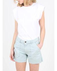 AU PRINTEMPS PARIS Tee-shirt col rond épaulettes en coton - Blanc