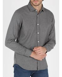 Hartford Slim-fit Cotton Shirt With Classic Collar - Gray