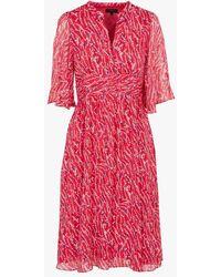 CAROLL Robe cintrée ample à imprimés et manches courtes - Rose