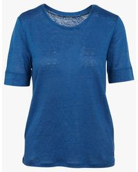 Harris Wilson Tee-shirt col rond en lin outremer - Bleu