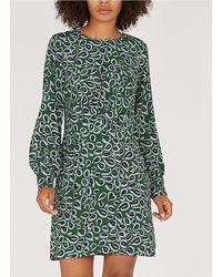 Nice Things Long-sleeved Straight Printed Midi Dress - Green