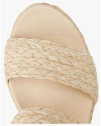 MAISON 123 Sandales compensées en cuir et raphia - Neutre