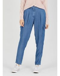 Naf Naf Lyocell Carrot Trousers Chambray - Blue