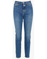 Closed Vaquero recto de algodón de talle alto descolorido - Azul
