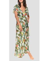 Banana Moon Long Tropical Print Wrap Dress - Green