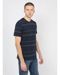 Samsøe & Samsøe Tee-shirt col rond rayé en lin et coton - Bleu