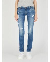 Le Temps Des Cerises Worn-effect Slim Jeans Blue