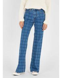 Gerard Darel Jean flare à carreaux jeans - Bleu