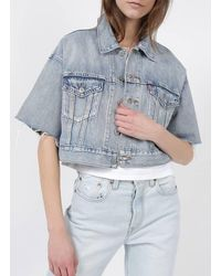 Levi's Veste en jean cropped jeffrey - Bleu