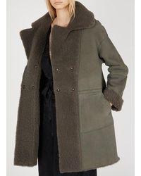 Gerard Darel Peau lainée réversible gris moyen - Multicolore